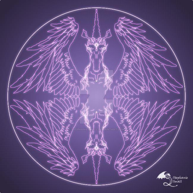 Fantasy Goth Mandala Winged Unicorn Crystal Ball By Stephaniesmall