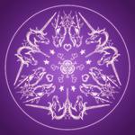 Fantasy Goth Mandala Dragon Unicorn Crystal Ball