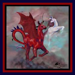 LLaragon and Seldinia the LLama Dragon Unicorn Red by StephanieSmall