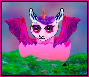 Kolette the Unicorn Dragon Llama Pink White Egg by StephanieSmall