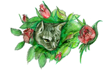 Tabby Cat in Flower Rose Bush Cute Adorable Kitten by StephanieSmall