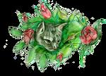Tabby Cat in Flower Rose Bush Cute Adorable Kitten