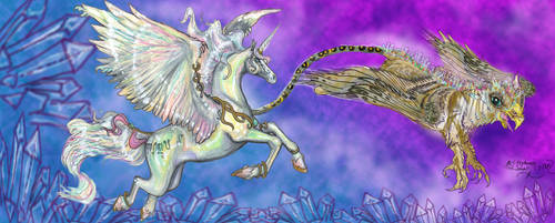 Griffon And Unicorn Banner Horse Pegasus Adoptable by StephanieSmall