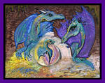 Dragon Family Purple Blue Geode Egg Cave Brown