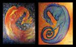 Dragon Phoenix Bird Reptile Fantasy Fire Gold Fish