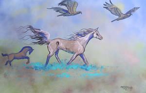 Horses Ponies Eagle Hawk Foal Baby Flying Wings by StephanieSmall