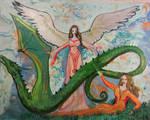 woman elf dragon angel female reptile monster blue