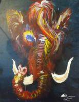 Pachyderm Mammoth Mastadon Elephant Magic Red Life by StephanieSmall