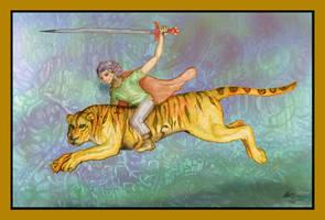 Tiger Rider Human Sword Orange Blue Cat Liger by StephanieSmall