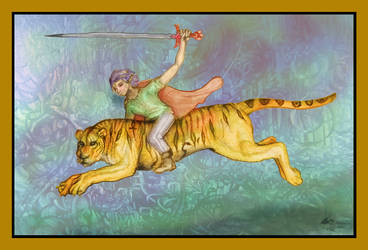 Tiger Rider Human Sword Orange Blue Cat Liger by StephanieSmall