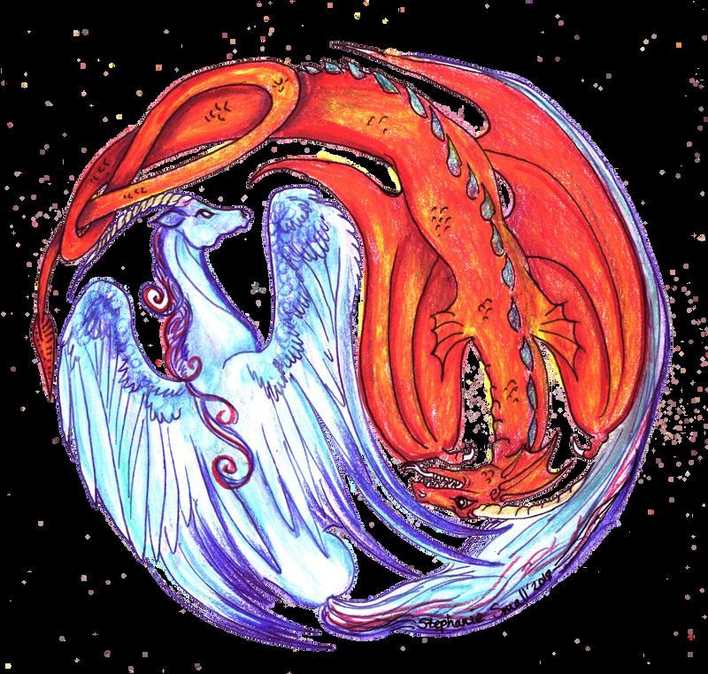 Yin Yang Unicorn Dragon Fire Water Fantasy Horse by StephanieSmall