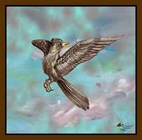 Bird Grey Black Brown Blue Flying Wings Winged by StephanieSmall