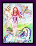 Unicorn Horse Pony Woman Hawk Owl Equine Equus by StephanieSmall