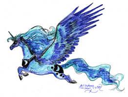 Princess Luna Unicorn Horse Pony Head Portrait Equ by StephanieSmall