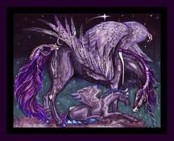 Purple Pegacorn Pegasus Unicorn Horse Pony Blue by StephanieSmall