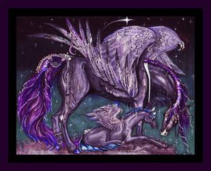 Purple Pegacorn Pegasus Unicorn Horse Pony Blue by StephanieSmall