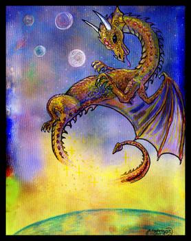 Dragon Reptile Monster Space Sky Planet animal rep