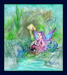 Fairy Baby unicorn dragon mushroom stream by StephanieSmall