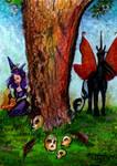 Fairy unicorn dragon mushroom Teal tree skull