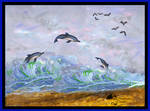 Dolphin Seagull Sea Bird Wild Animals Ocean Sea Ce by StephanieSmall