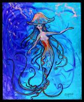 Jellyfish Mermaid Fish Swim Tentacles Blue Brown by StephanieSmall