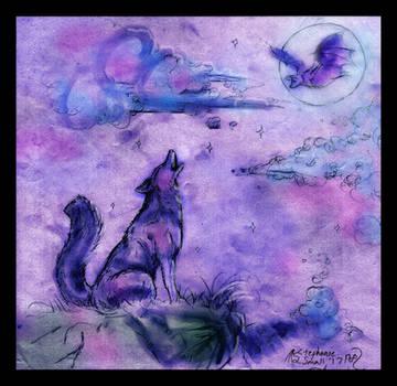 Wolf Coyote Dog Hound Lupus Lupine Bat Moon Howlin by StephanieSmall