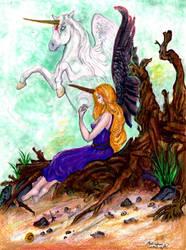 Unicorn Priestess Atlantis Shaman Beach Angel Wing by StephanieSmall
