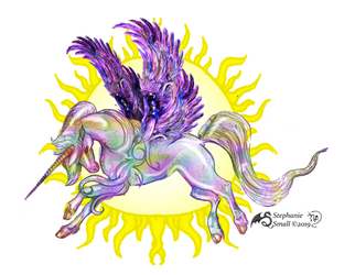 Unicorn pegasus horse pony equine equus purple sun by StephanieSmall