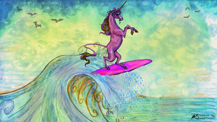 Warm Vibes Unicorn Surfing Unicorn Horse Pony Blue by StephanieSmall
