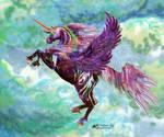 Ebony Star Arabo-Friesian Winged Unicorn Pegasus