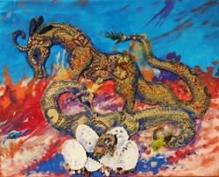 Dragon monster beast reptile eggs baby cute gold