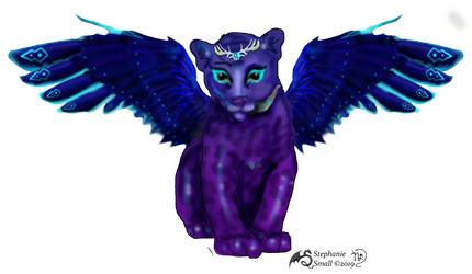 J'nar Panther Cub Cat Winged Purple Blue Jaguar