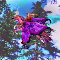 Unicorn Fairy Woman Girl Horse Nature Mushrooms Bl