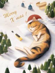 Christmas Drunk Cat by yuchunho