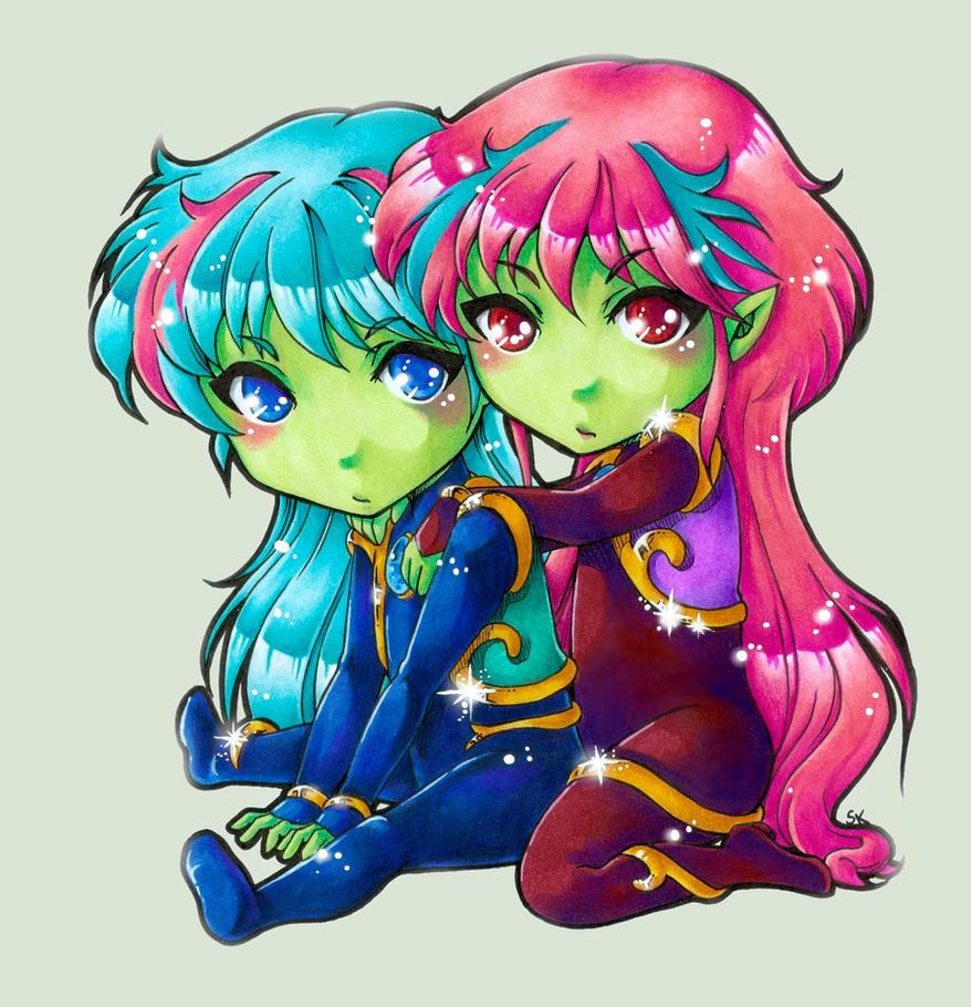 Ale and Ann Chibi by m-u-ll-e