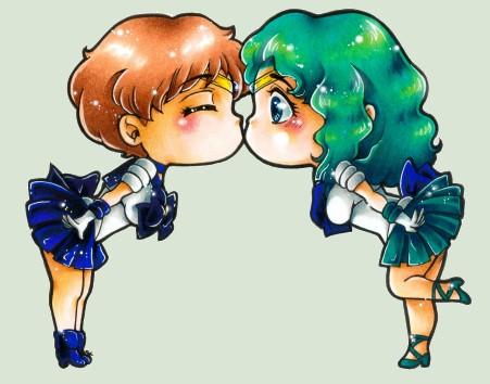 Sailor Uranus und Neptune Chibi by m-u-ll-e