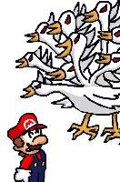 Mario vs Nine Headed Bird (iPhone drawn) s by Mamamia64
