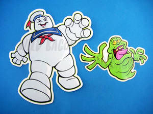 Ghostbusters Stay Puft and Slimer Vinyl Stickers