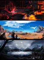 Town illustrations by tori-ru