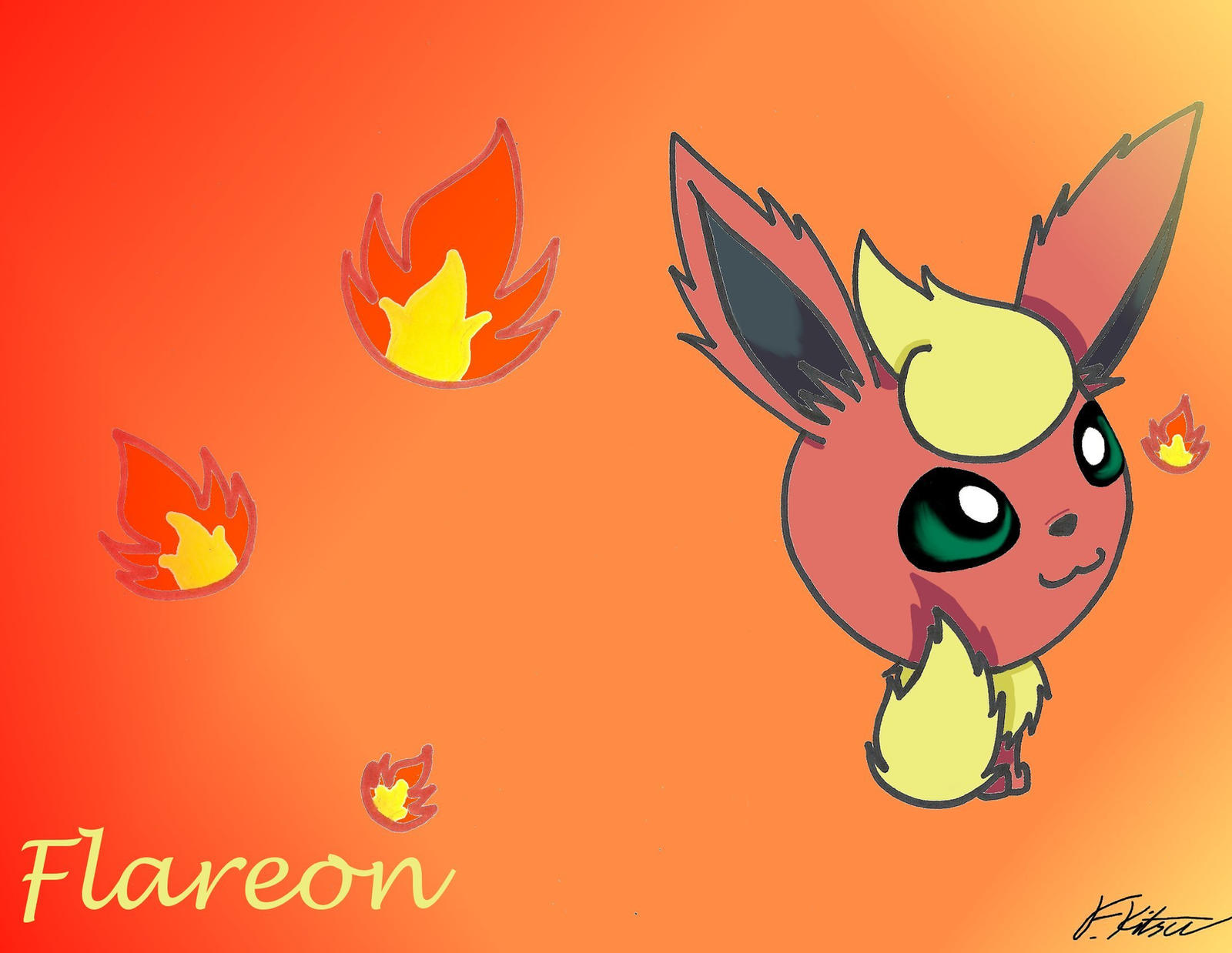 Chibi Flareon Wallpaper by Flareonsk8r on DeviantArt