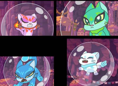 Elemental Cats (Chuck Chicken) in bubbles!