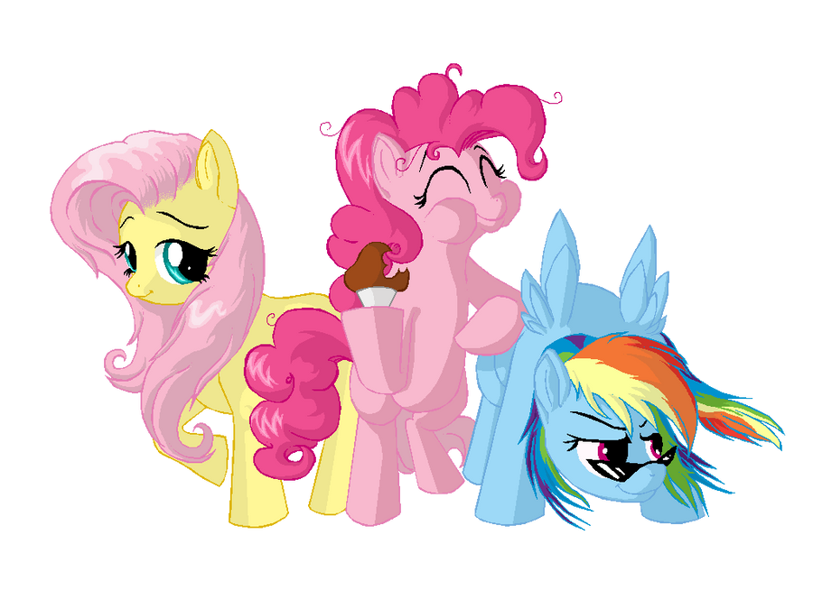 Fluttershy pinkie pie and rainbow dash finished by celyann on