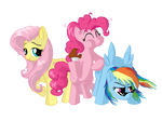 Fluttershy, Pinkie Pie and Rainbow Dash finished