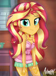 Sleepover with sunset shimmer