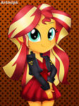 Sunset shimmer in a red dress