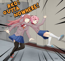 Natsuki RKOs Monika! Outta nowhere! by thespexguy