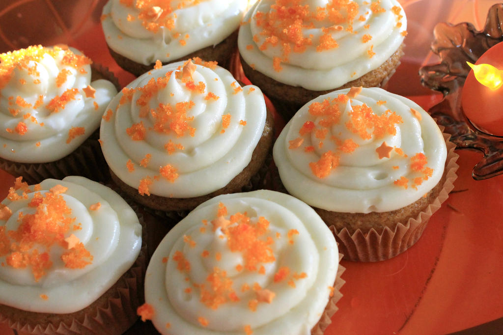 Pumpkin Cupcakes w/ Cream Cheese Frosting 2 by catsfortune on ...