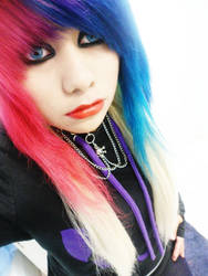 Me with Pink and blue hurr.