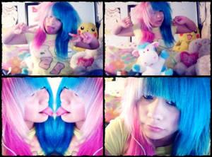 Half pink and Half blue hair - Me. :DD