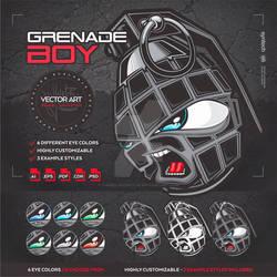 Angry Hand Grenade Boy [Character / Logo / Mascot]